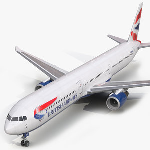 boeing 767-400er british airways 3d model