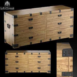 dresser vintage antique oak 3d max