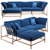 3d model corner sofa indigo denim