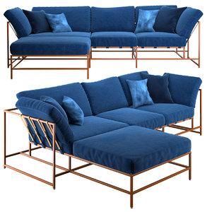 3d model corner sofa indigo denim