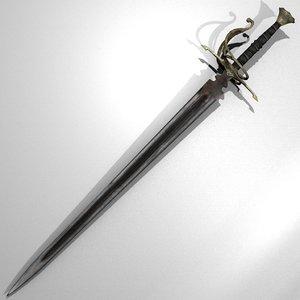 medieval gothic sword 3d blend