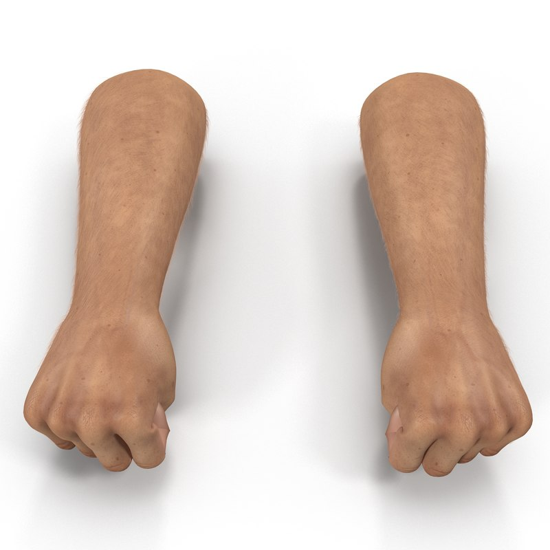 3d man hands fur pose