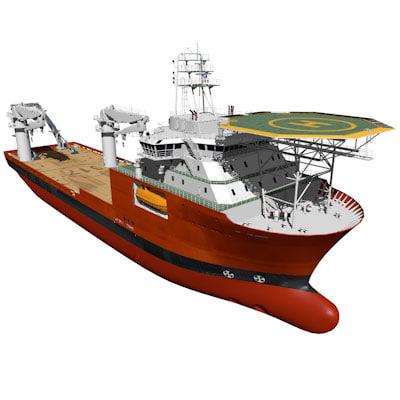 offshore construction vessel 3d 3ds