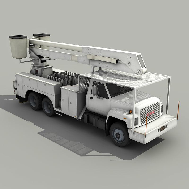 3d utility bucket truck crane model