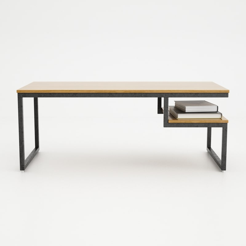 c4d wood iron coffee table
