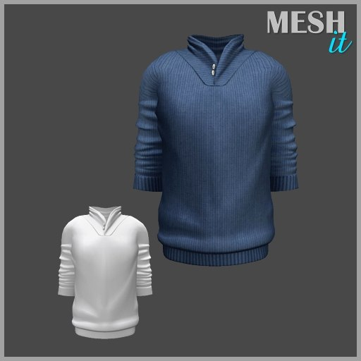 3ds male sweater blue