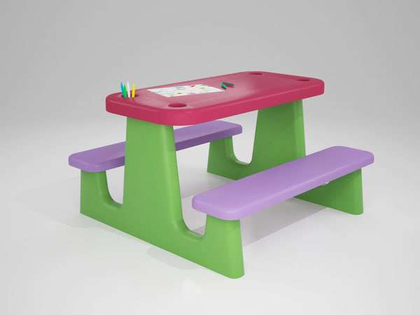 children drawing table 3d model