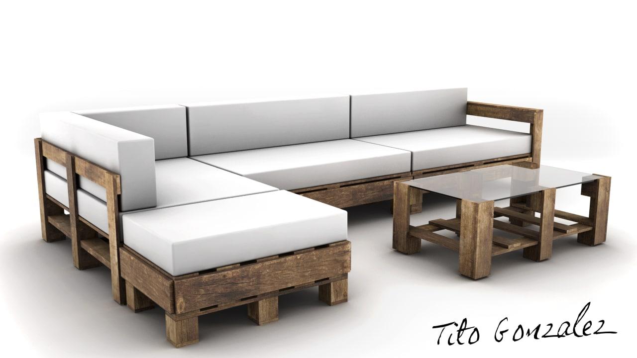 pallets coach sofa 3d model
