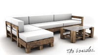 pallets coach sofa 3d model