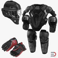 Hockey Protective Gear Kit 2 3D Models
