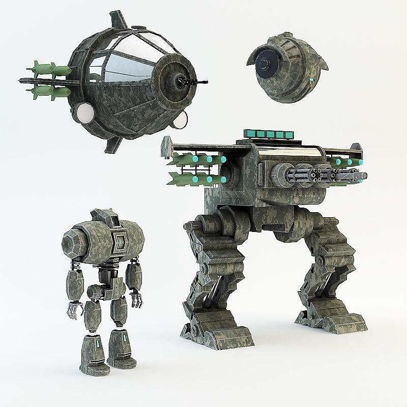 3d war robot set model