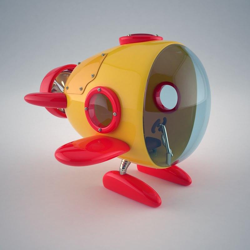 cartoon mini submarine 3d max