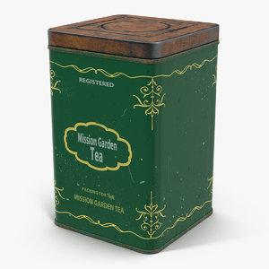 3d vintage tea tin model