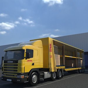3d model of semi trailer cargo truck