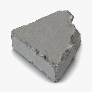 3d concrete chunk 8 materials model