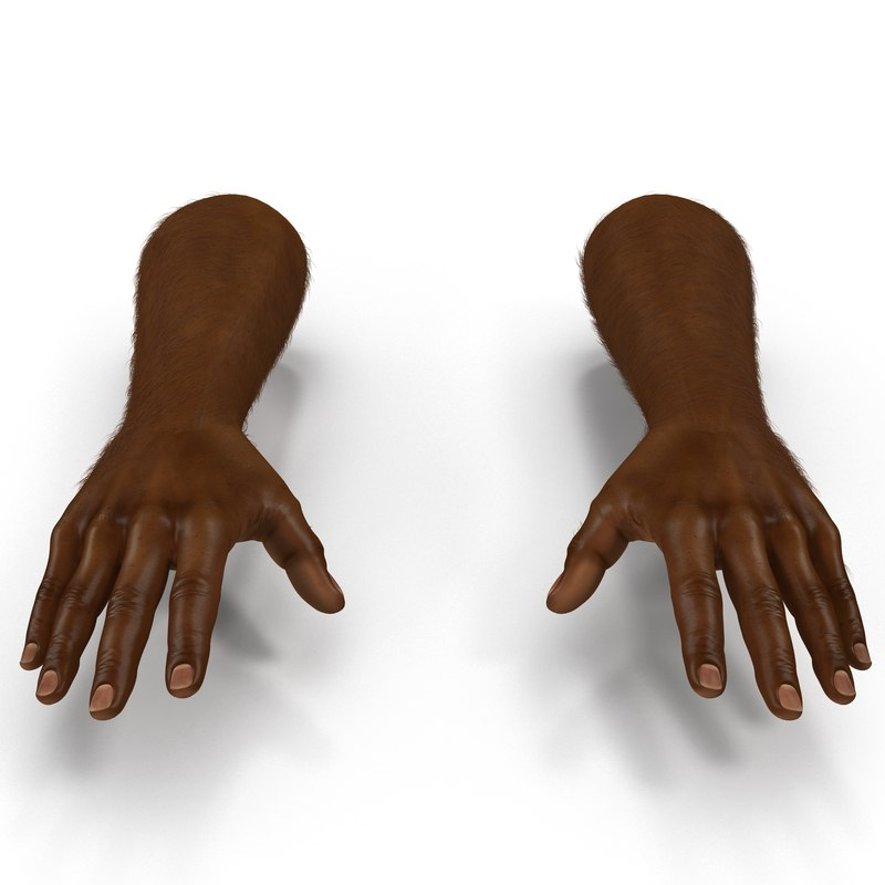 3d model african man hands fur