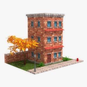 3d model stylized cartoon building