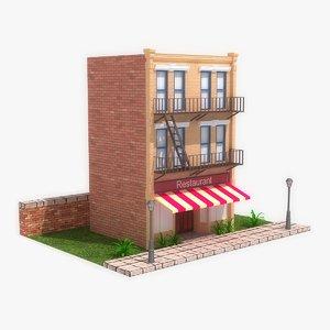 stylized cartoon building 2 3d max