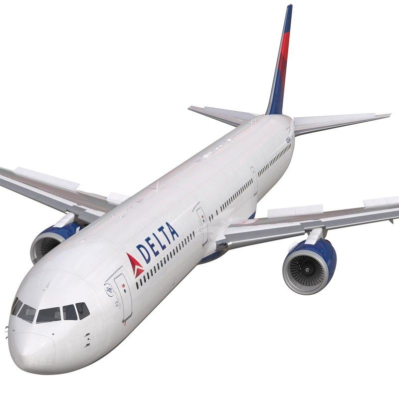 3d model boeing 767 400er delta