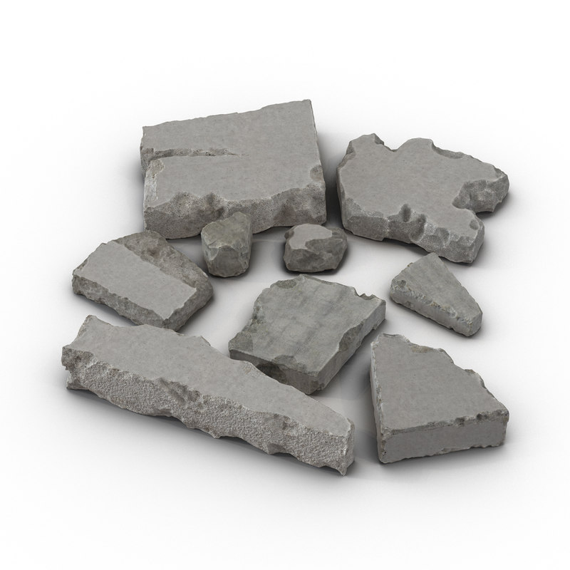 3d concrete chunks set model