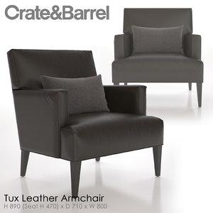 3d model tux leather armchair