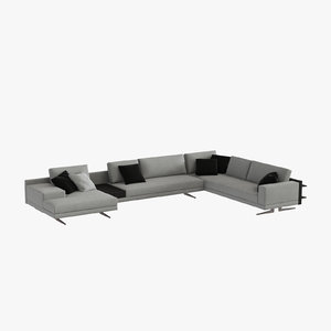jean-marie massaud mondrian sofa 3d model