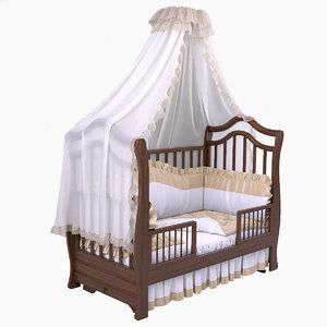 bed crib 3d max