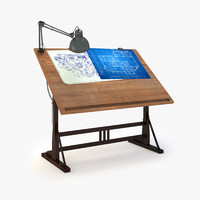 retro blueprint desk lamp 3d max