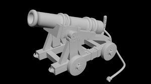 3d model of historic naval cannon