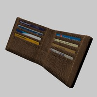 brown leather wallet 3d fbx