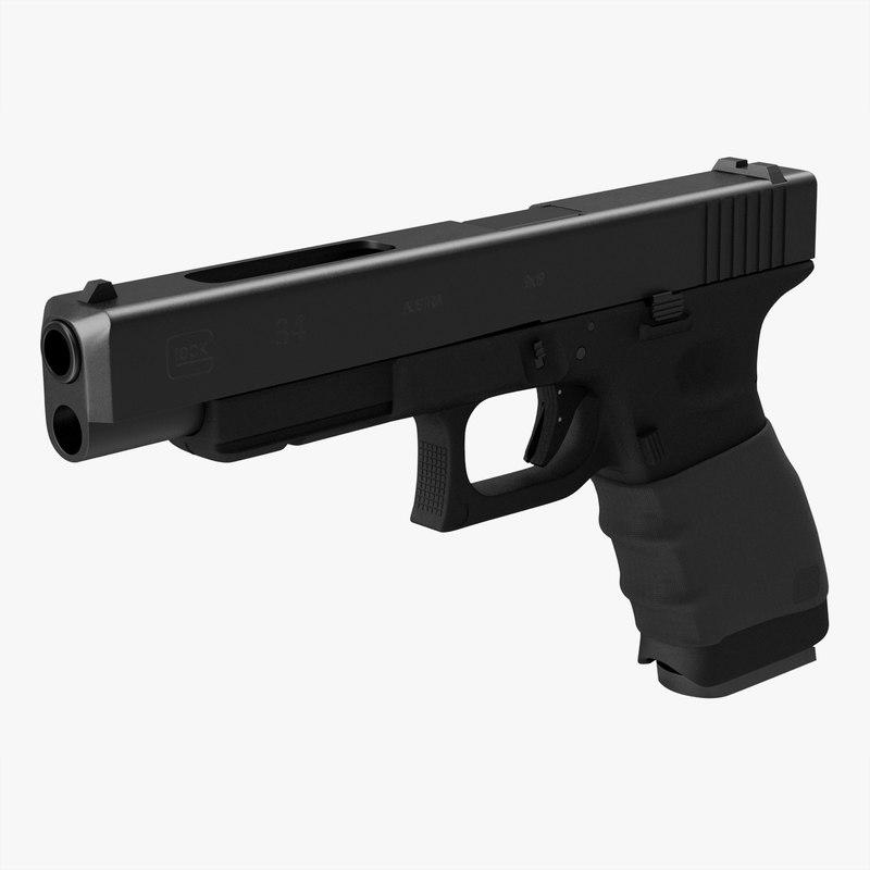 3d model glock 34 handle