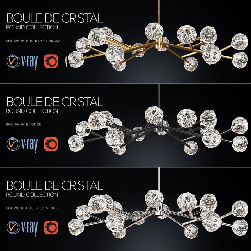 3d corona boule cristal 60