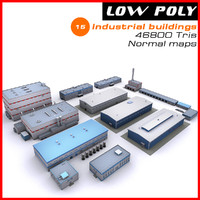 3d model industrial buildings set