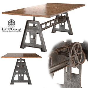3d model garibaldi dining table industrial