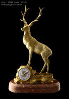 Gold plated Brass Sculpture Bucks Clock