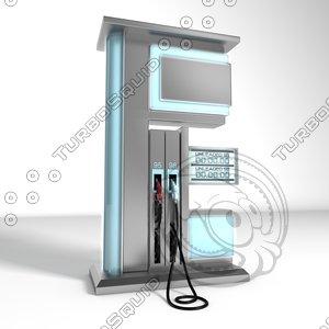 3d obj modern fuel pump station