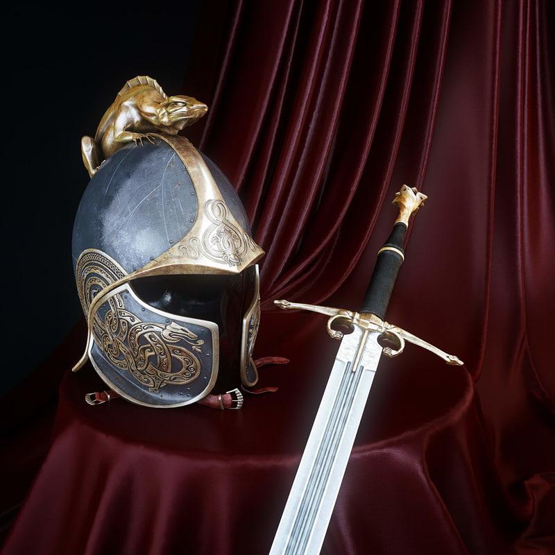 3d model dragon s helm sword