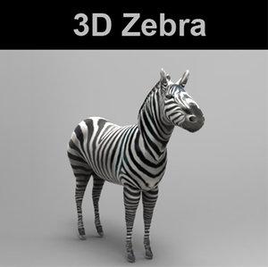 3d obj zebra comes extensions