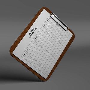 clipboard board 3d model
