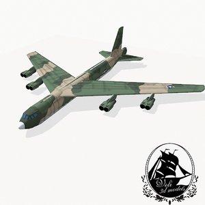 3d b-52 stratofortress bomber model