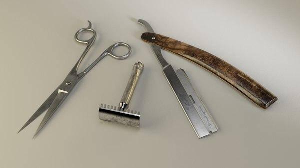 3d model vintage barber shop accessories
