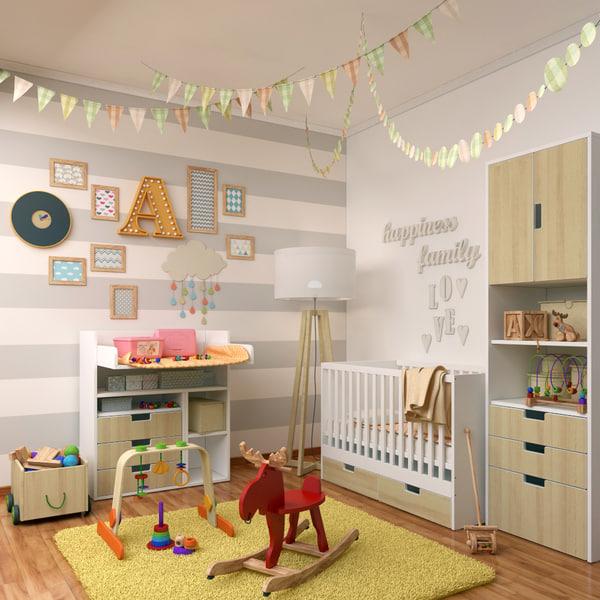 3d model decorative set 3 children