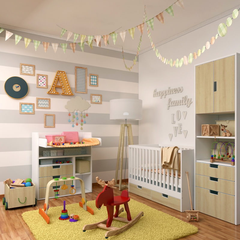 3d model decorative set 3 children