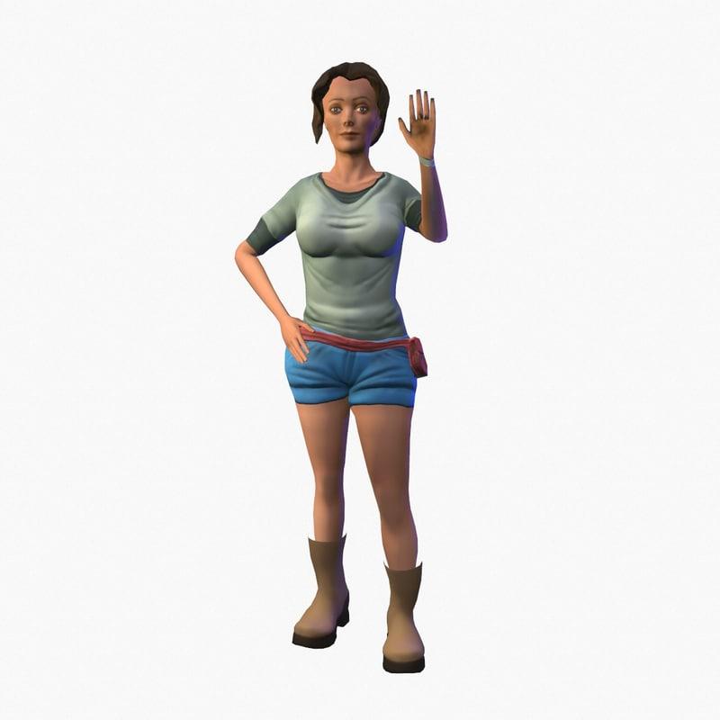 character girl tourist 3d model