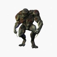 3d model character swamp reptilian