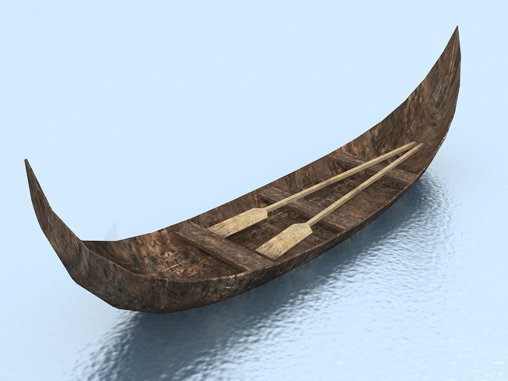 3d old wooden canoe model