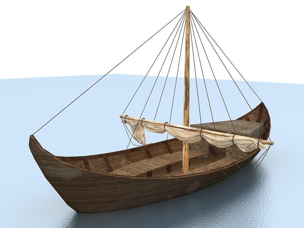 old boat sail 3d model