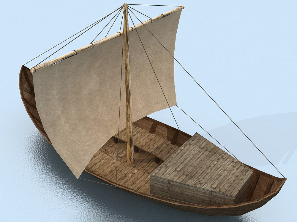 3d 3ds Old Wooden Boat Sail