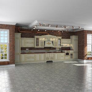 loft interior scene classic 3d model