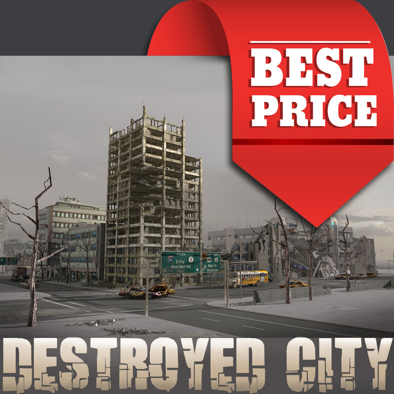 3d - destroyed ruined city